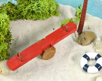 Miniature See Saw ~ Teeter Totter ~ Little Playground See-Saw ~ Painted Red or Other Color Choice at Checkout ~ Miniature Garden Supplies
