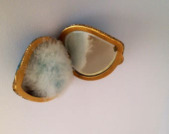Precious Darling Antique Heart Compact Complete w original Goose Down Powder Puff and Heart Shaped Mesh Screen beautil blue Porcelain Enamel