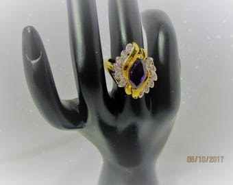 Faux Amethyst and Rhinestone Electroplate Gold Cocktail Ring Statement Jewelry Marquis Cut Exquisite Faux Amethyst Ring