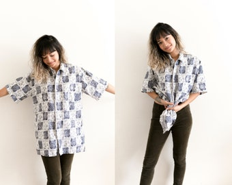 Tribal Print Button Up Shirt / Blue White Abstract Shirt / Oversized All Over Print Blouse / Long Collared Short Sleeve Unisex Geometric