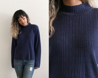 Vintage Blue Mock Neck Sweater / Long Sleeve Ribbed Sweater / Navy Blue Pullover Sweater / Knit Turtleneck Sweater / Oversized Slouchy