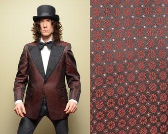mens vintage tuxedo jacket 70s silk brocade jacket metallic floral pattern single button 42 42R 1970 menswear After Six