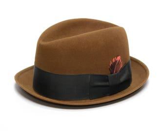 vintage 50s 60s fedora chocolate brown wide black hatband petit brim 1950 1960 Wormser Regency fedora 7 5/8 L/XL pink red feather