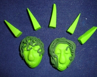 Lot of 5 Triangle and 2 Lime Green Polymer Clay Beads
