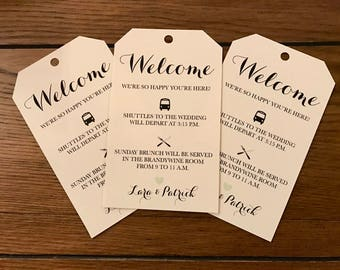 Wedding Thank You Welcome Bag Tags, Wedding Favor Tags, Schedule Tags for your Wedding or Event, Itinerary Tag for any Event