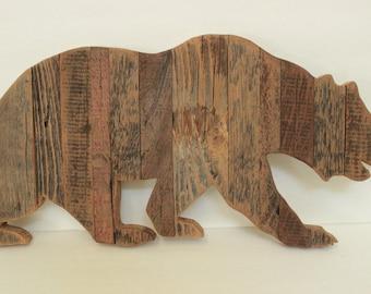 Bear Reclaimed Wood Wall Hanging