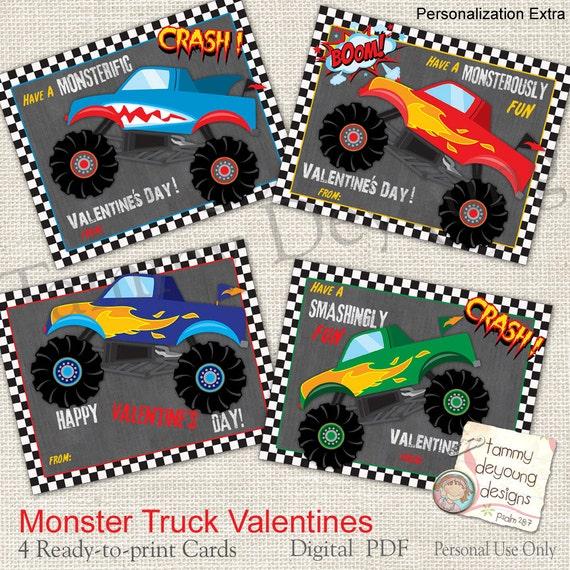 Monster Truck Valentine Cards for Kids Boys Valentines – Valentines Cards for Boys