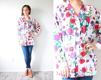 Vintage boho long sleeve floral blouse // boho garden floral summer long sleeve sweatshirt // floral boho top boho shirt spring top 70's