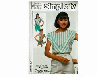 Tops Uncut Sewing Pattern Sizes 20 22 24 Bust 42 44 46 Easy to Sew Simplicity 7448 80s geometric blouses