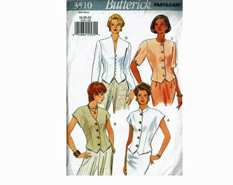 Very Easy Top Neckline Options Vest Style Blouse Jacket Sizes 18 20 22 Bust 40 42 44 Butterick 3510 Fast & Easy Uncut Sewing Pattern
