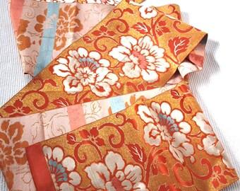Silk Fukuro Obi, Formal kimono belt,  Asian Decor, table runner, orange and gold, Flower pattern 22/320