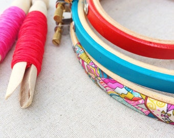 Viberant Embroidery Hoop Set. Frames For Textiles. liberty print fabric and a matching frames