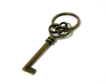 Heart of The Treasure - Antiqued Brass Vintage Style Skeleton Key Key Ring - KR43