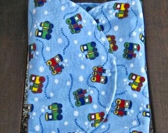 Blue Baby Trains Flannel Burp Cloth Boy