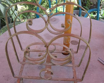 vintage iron magazine rack, wrought iron fancy mid century