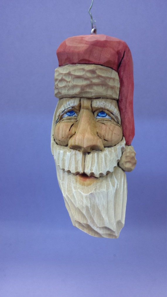 Hand carved Christmas tree ornament OOAK Christmas gift for him gift for her hand made carved wood holiday decor Santa Claus decorations