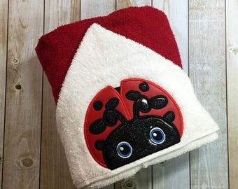 """Ladybug Hooded Bath Towel 27"""" x 52"""""""