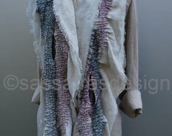 Hand felted sculptural scarf, outstanding artistic handmade shawl, timeless statement accessory, modern art scarf, wet felted wrap