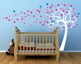 """Custom order- Floating Flowers Tree(138"""" W) with Elephant-Designed by Pop Decors PT-0279"""