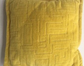 Badass Yellow Mini Throw Pillow with Geometric Velvetly Detail