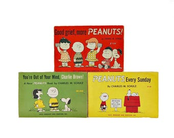 1960s Peanuts Books Charles Schultz 3 Vol Set 60s Vintage Good Grief More Peanuts You're Out Of Your Mind Charlie Brown Peanuts Every Sunday