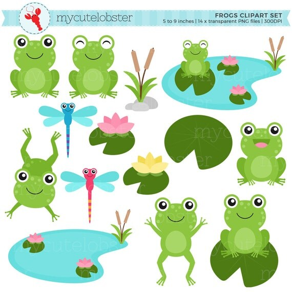 Frogs Clipart Set - clip art set of frogs, lilypads, frog, dragonflies, cute frogs - personal use, small commercial use, instant download