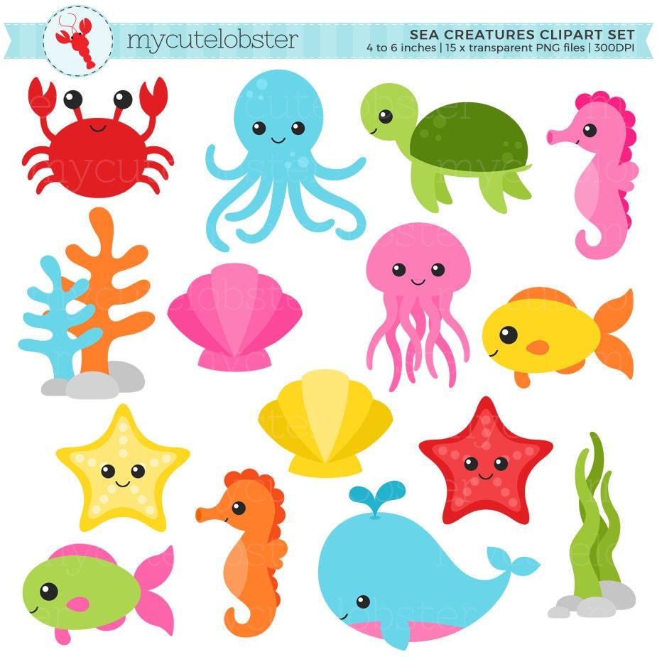 Sea Creatures Clipart Set sea animals clip art crab fish