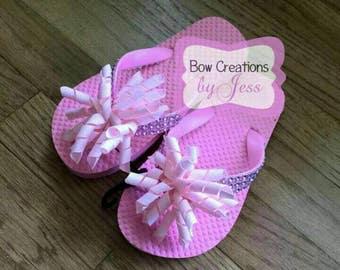 Girls Pink Flip Flop size 11-12, Flips, Hair Bow, Hairbow, Girls Shoes, Summer, Spring, Pink, Girls, Flips, Sandals, Rhinestones, Flip Flop