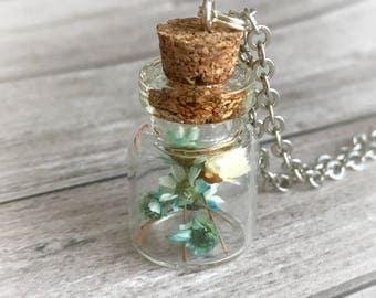 Blue pressed flower pendant Glass bottle botanical necklace blue grassy flower Everyday necklace