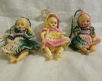 3 Vintage Mini Dressed Baby Dolls