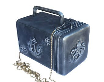 SteAMpunk Nautical Octopus purse with pocket watch gears charm ANchor bag wallet case