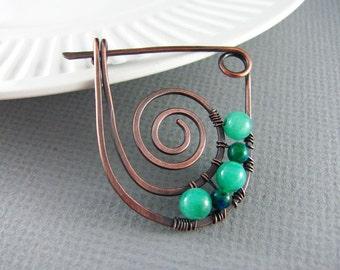 Shawl Pin Copper Wire Wrap Jewelry Scarf or Sweater Pin Aventurine and Chrysoprase Fibula Wire Wrapped Shawl Pin Copper Brooch