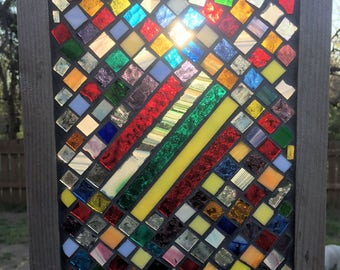 Contemporary Stained Glass Mosaic Panel - Abstract Geometric (PLG093)