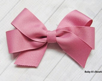 Mauve Hair Bow, Mauve Bow, Mauve Boutique Bow, Girls Hairbow, Mauve Ribbon, Solid Hairbow, Solid Boutique Bow, 4 inch hairbow, mauve