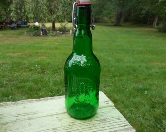 Vintage 1960s to 1990s Green Grolsch Lager Beer Bottle German White Porcelain Flip Top Wire Band/Bail