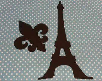 Eiffel Tower and Fluer de Lis Die cut 10CT- Cutout-Scrapbooking-Card Making
