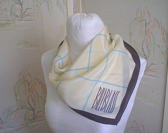 Vintage Silk Scarf from Bill Blass Cream with Blue Check Silk Neck Square