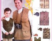 Simplicity 5475 Mens' and Boys Outdoors Vest and Hat Pattern Sz XS-L/M-XXXL Uncut