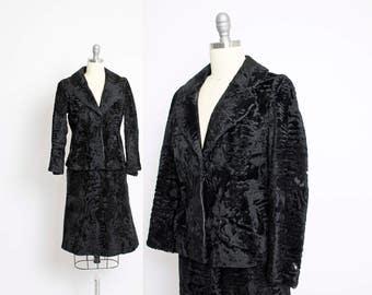 Vintage 1950s Fur Suit - Persian Lamb Black Jacket Skirt Set 50s - Extra Small XS