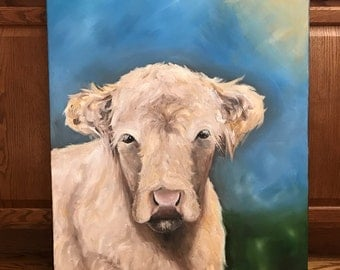 "Already Made Original Hand Made 30x24x1.5"" Semi Empressionist Cream Colored Cow on Canvas Done with Oils"