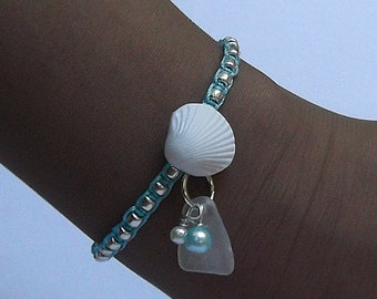Micro macrame bracelet - Shell bracelet - Sea glass jewelry.