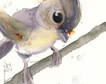 5 x 5 Bird Art, Tufted Titmouse, Bird Art Print