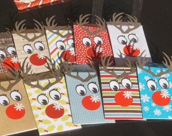 Reindeer Gift Card, Gift Christmas Gift Card holder, Holiday Gift Card, Gift Card Envelope, Gift Card Holders. Set of 10