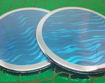4 Blue Sparkle Wave drink coasters