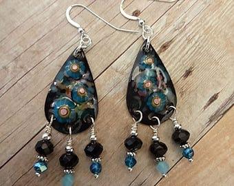 Enamel and Black Onyx Earrings, Artisan Enamel Earrings, Black and Blue Earrings, Black Enamel Earrings, Artisan Earrings, OOAK Jewelry