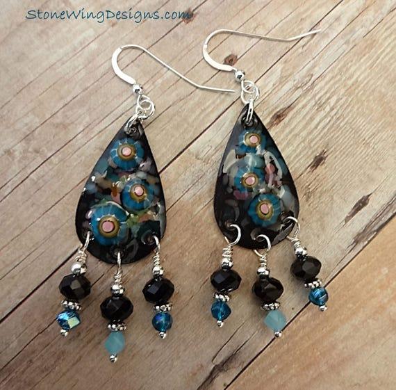 Artisan Made Enamel and Black Onyx Earrings