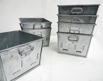 Vintage Industrial Metal Storage Large Bins INDIA SET of THREE