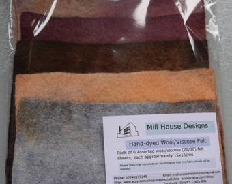 Hand-dyed Wool/Viscose Felt