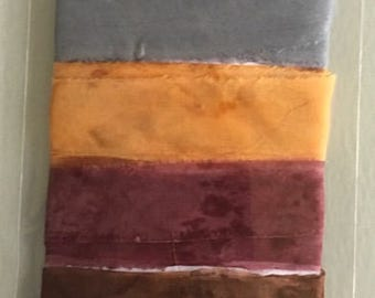 Handmade and hand-dyed silk voile ribbon