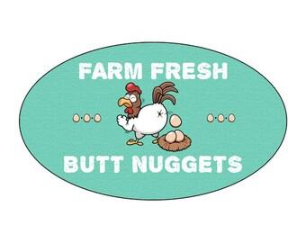 Farm Fresh Butt Nuggets Glossy Egg Carton Labels Set of 30